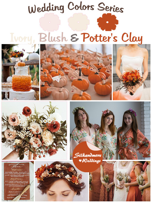 Ivory, Blush and Potter's Clay Wedding Color Palette
