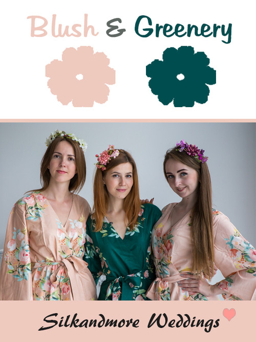 Blush and Greenery Color Robes - Premium Rayon Collection
