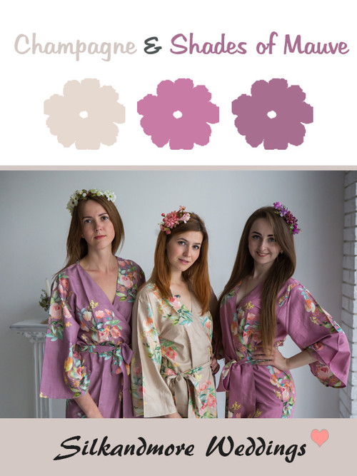 Champagne and Shades of Mauve Color Robes - Premium Rayon Collection