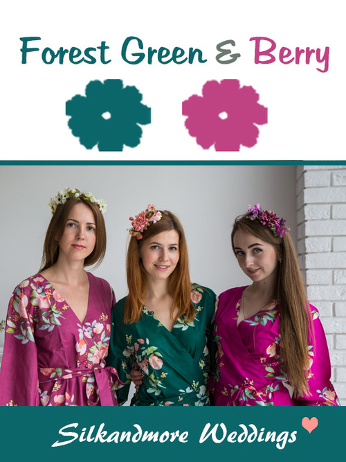 Forest Green and Berry Color Robes - Premium Rayon Collection
