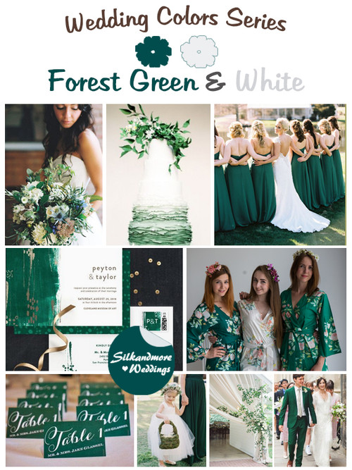 ivory coral and forest green wedding color palette robes by