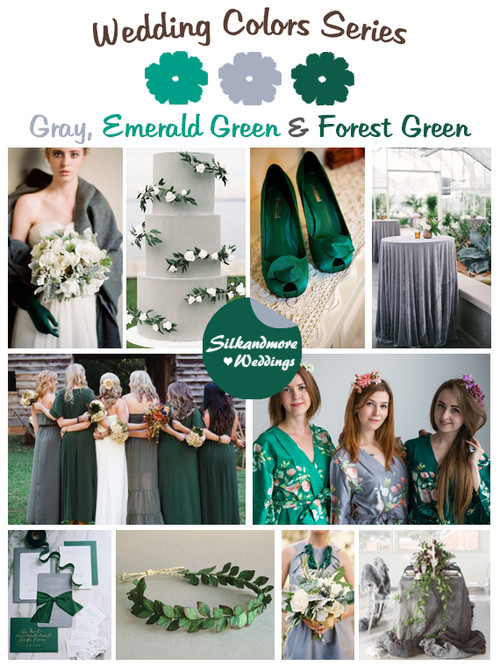 Emerald Green, Forest Green, Silver and Gray Wedding Colors Palette ...