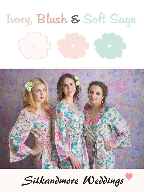 Ivory, Blush and Soft Sage Color Robes - Premium Rayon Collection