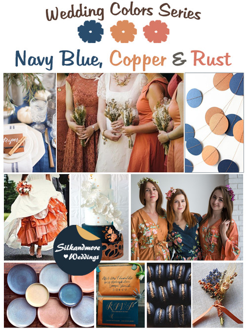Navy Blue, Copper and Rust Wedding Color Palette