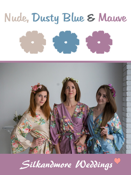 Nude, Dusty Blue and Mauve Color Robes - Premium Rayon Collection