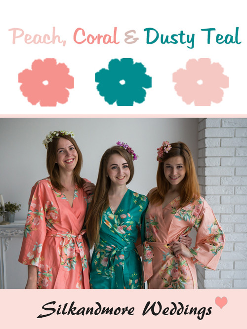 Peach, Coral and Dusty Teal Color Robes - Premium Rayon Collection