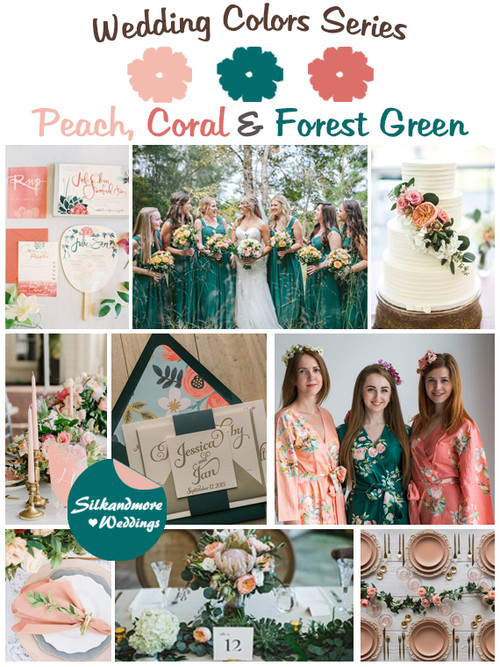 Peach, Coral and Forest Green Wedding Color Palette - Robes by ...