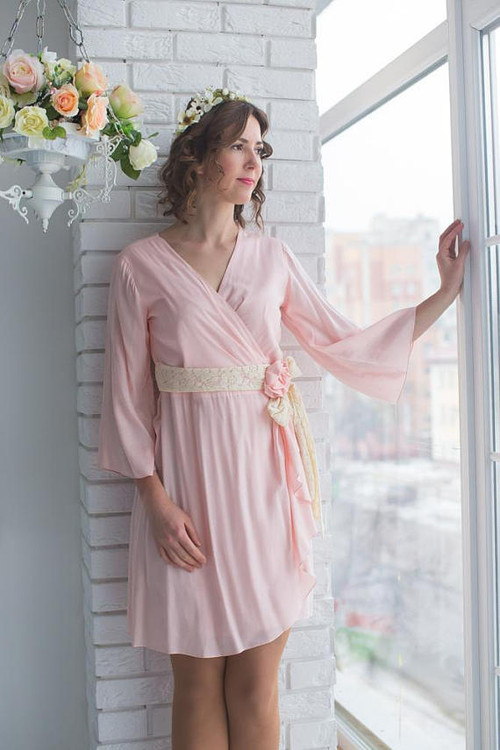 Blush Bridal Robe from my Paris Inspirations Collection - Rosette Robe in Blush