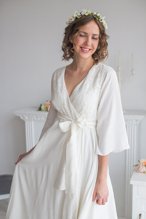 White Bridal Robe from my Paris Inspirations Collection - Lacey Silk in White