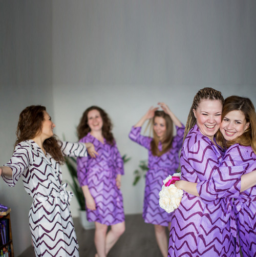 White Chevron Robes for bridesmaids | Getting Ready Bridal Robes