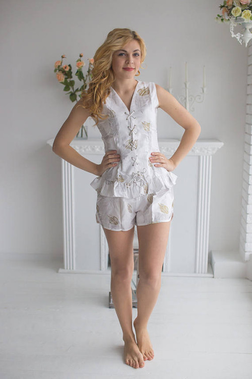Corset Style Pj Sets in a feather rhyme Pattern