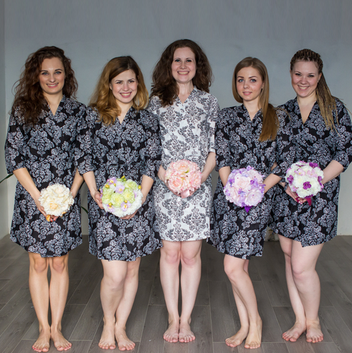 Black Damask Robes for bridesmaids | Getting Ready Bridal Robes