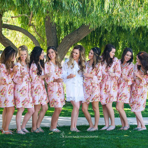 Pink Floral Posy Bridesmaids Robes