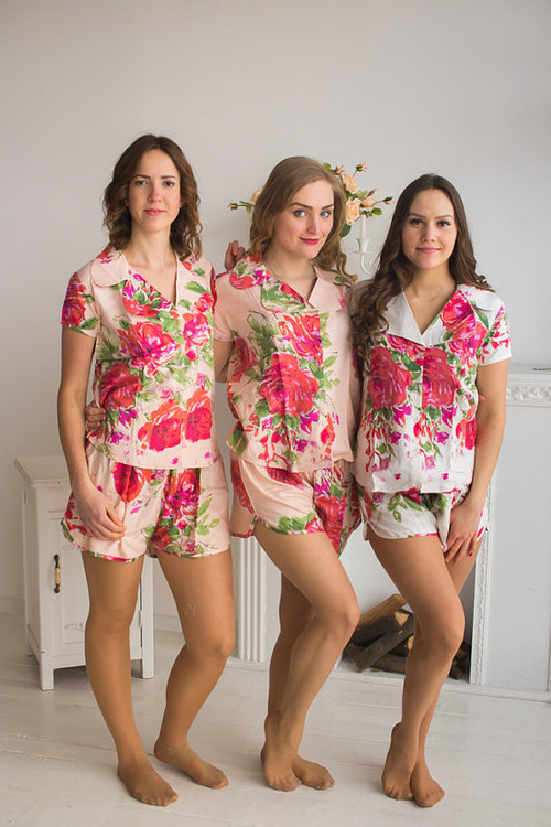 Notched Collar Style Pj Sets in Blush in Fuchsia Large Floral Blossom fabric Pattern