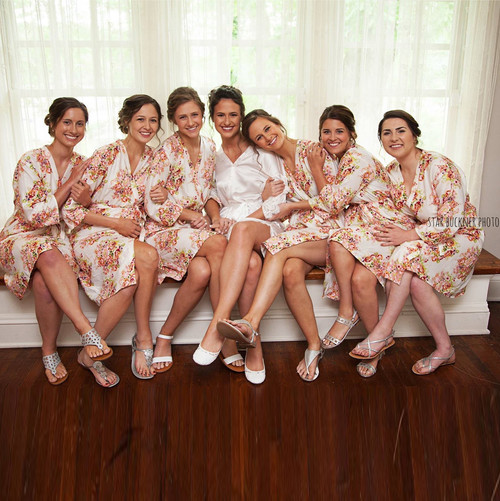 Bridesmaids Robes - White Floral Posy Pattern