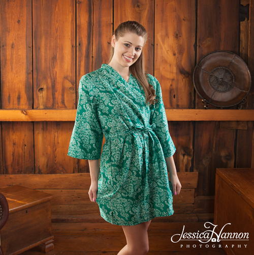 Teal Damask Robes for bridesmaids | Getting Ready Bridal Robes