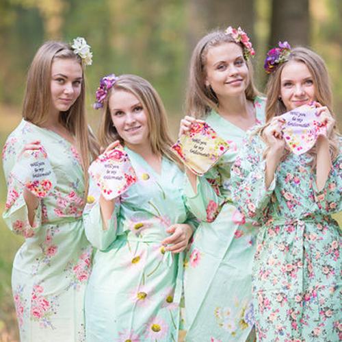 Custom Ask your Bridesmaid Floral Handerkerchief, Personalized Wedding Hankerchief, Embroidered Bridesmaids Hankey, Wedding Favors