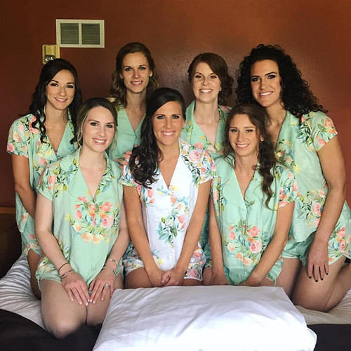 set of 6  bridesmaids pjs, bride and bridesmaids  pj sets
