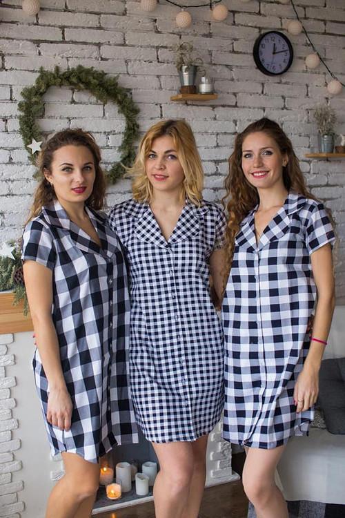Checks style bridesmaids shirts