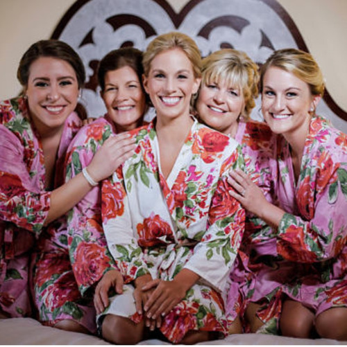 Set of Bridesmaids Robes- Large Fuchsia Floral Blossoms in Pink
