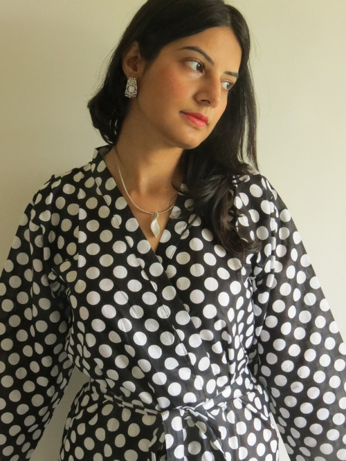 Black Polka Dots Robes for bridesmaids | Getting Ready Bridal Robes