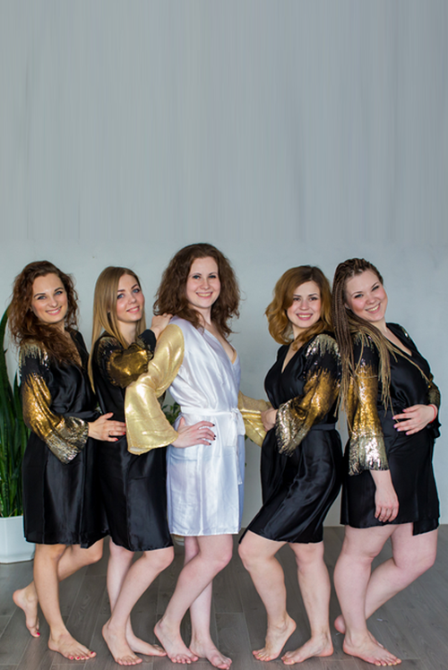 Black Royal Gold Shimmery Robes for bridesmaids | Getting Ready Bridal Robes