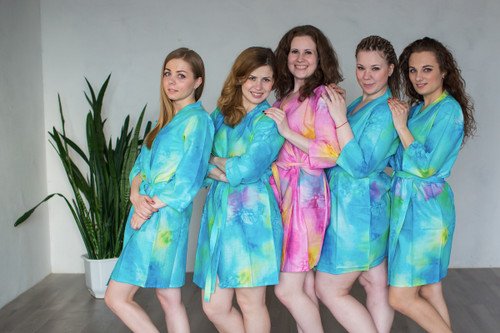 Blue Watercolor Splash Robes for bridesmaids | Getting Ready Bridal Robes