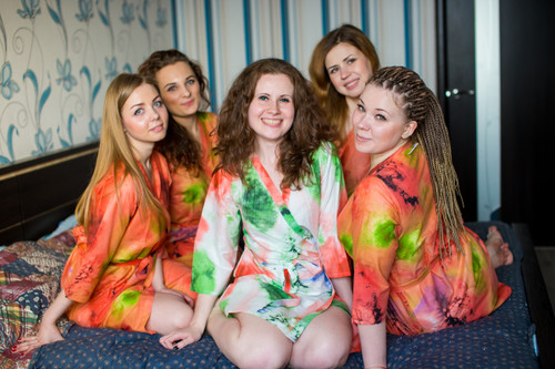Coral Watercolor Splash Robes for bridesmaids | Getting Ready Bridal Robes