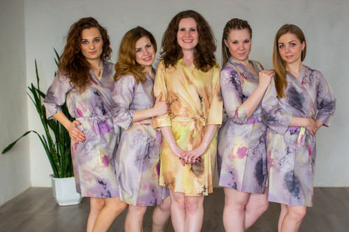 Gray Watercolor Splash Robes for bridesmaids | Getting Ready Bridal Robes