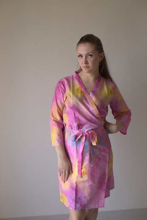 Pink Watercolor Splash Robes for bridesmaids | Getting Ready Bridal Robes