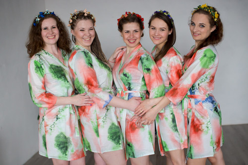 White Coral Watercolor Splash Robes for bridesmaids | Getting Ready Bridal Robes