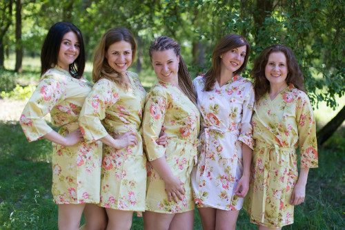 Light Yellow Flowers Rain Bridesmaids Robes