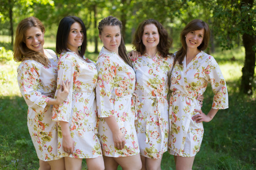 White Flowers Rain Robes for bridesmaids