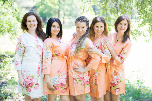 Peach Cabbage Roses Robes for bridesmaids