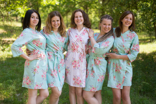 Seafoam Faded Floral Robes for bridesmaids