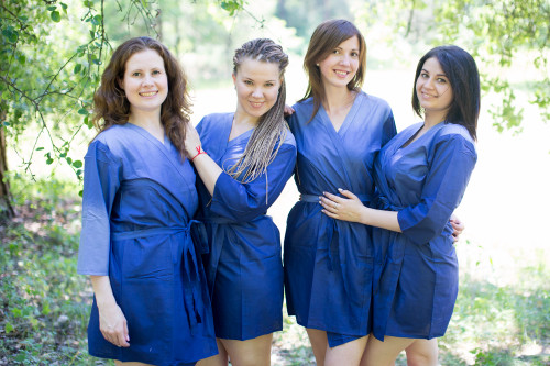 Dark Blue Ombre Tie Dye Robes for bridesmaids