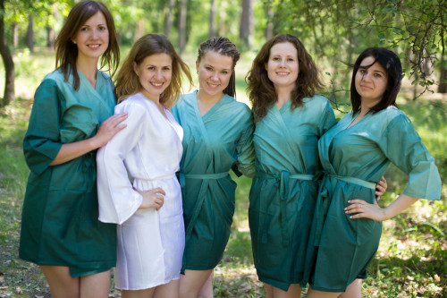 Green Ombre Tie Dye Robes for bridesmaids