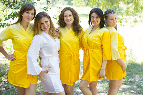 Yellow Ombre Tie Dye Robes for bridesmaids