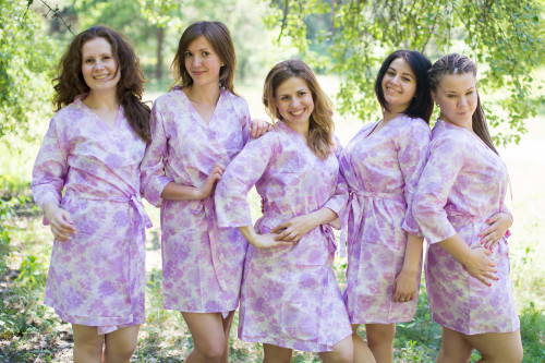 White Lilac Ombre Watercolor Leafy Robes for bridesmaids