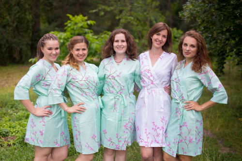 Mint Cherry Blossom Robes for bridesmaids