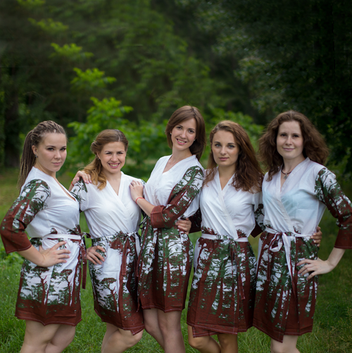 White Tree of Life Robes for bridesmaids