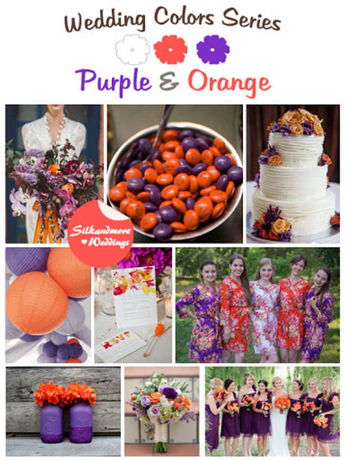 Purple and Orange Wedding Color Robes - Robes by silkandmore