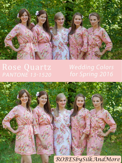 Rose Quartz Bridesmaids Robes | Pantone Spring 2016 Colors