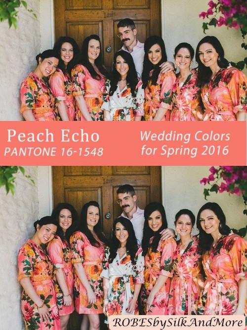 Peach Echo Bridesmaids Robes   Pantone Spring 2016 Colors
