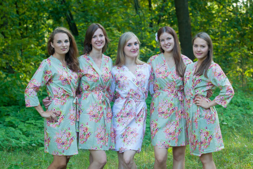 Grayed Jade Floral Posy Robes for bridesmaids   Getting Ready Bridal Robes