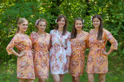 Peach Floral Posy Robes for bridesmaids | Getting Ready Bridal Robes