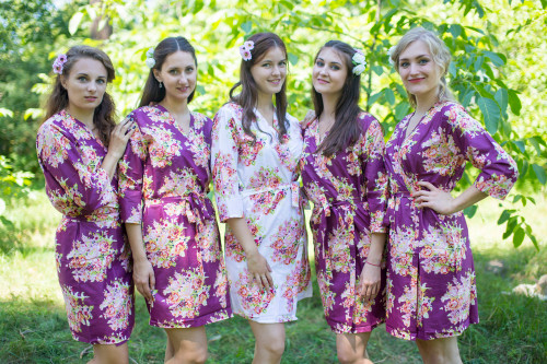 Eggplant Floral Posy Robes for bridesmaids | Getting Ready Bridal Robes