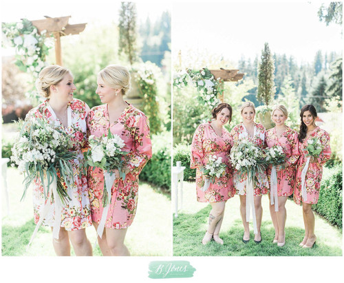Coral Rosy Red Posy Robes for bridesmaids