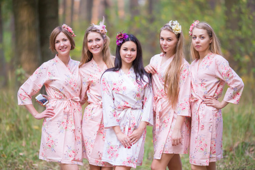 Blush Faded Floral Robes for bridesmaids