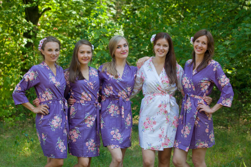Deep Purple Faded Floral Robes for bridesmaids